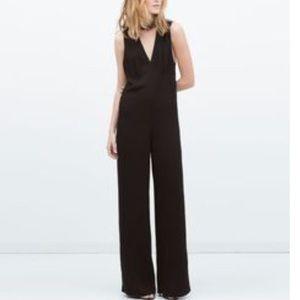 Zara Woman Choker V Neck Wide Leg Jumpsuit